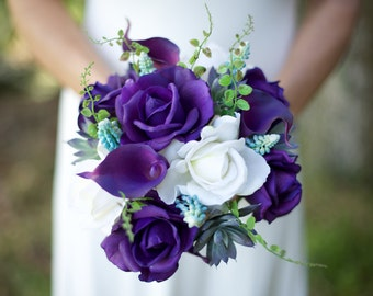 Wedding Succulents And Purple Roses Bouquet