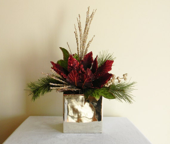 Christmas centerpieces burgundy by adariahomeaccents