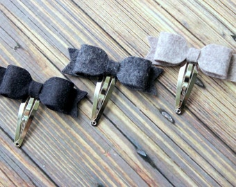 Felt bow snap clips - black, charcoal and gray