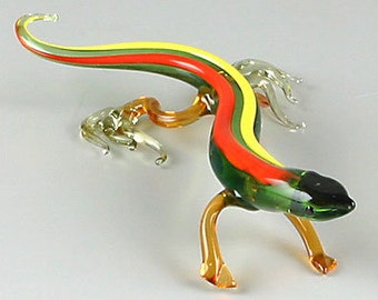 "5 1/2"" long gecko lizard glass figurine - hand blown"