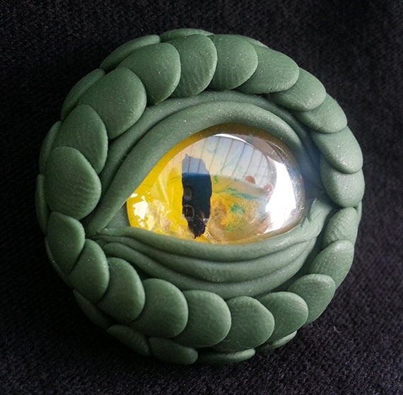 dragon eye talisman handmade polymer clay and glass, ooak one of a kind, green, dragons, yellow, eyes, amulet, magnet, gift, 1.25 inches