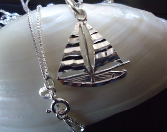 New Adventurous Sailboat Charm Necklace 925 With 925 Box Chain, Sailboat Pendant,  Sail Boat Jewelry, Nautical