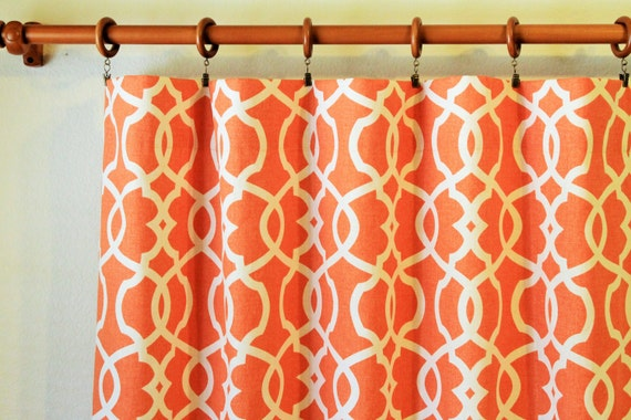 "Pair of 50"" wide trelis rod curtains, panels, drapes in Magnolia Emory tangerine -grey green blue taupe brown - 50x63"" 50x84"" 50x96"" 50x108"""