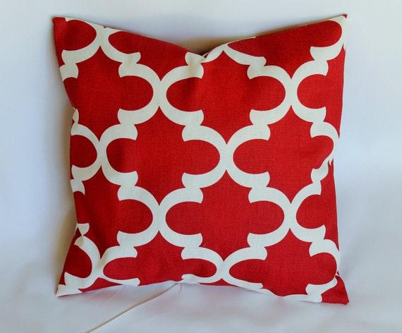 Designer decorative throw pillow cover Fynn red toss pillow