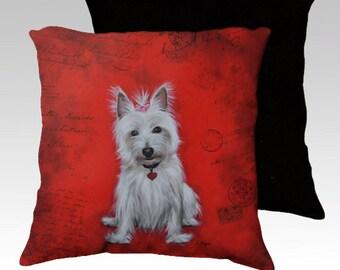 Westie dog velvet cushion cover- dog cushion- dog pillow- dog decor- dog lovers gift- terrier -pet cushion-pet decor- West Highland terrier