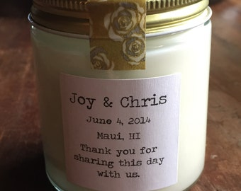 One hundred, 4 ounce soy candle wedding favor (style 008)