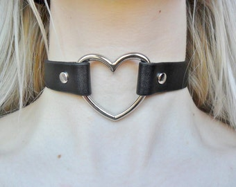 Leather Love Heart Black Silver Plated Pendant Necklace Choker Jewellery Jewelry