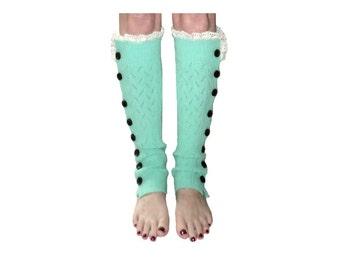 Mint Slouchy Button Leg Warmers w/Ivory Knit Lace