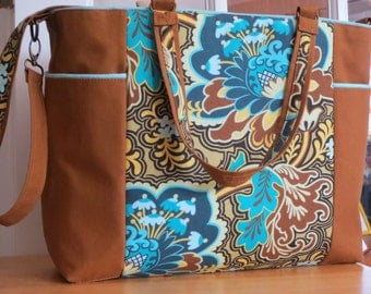 Beautiful new and larger version of the Kate Tote: lovely Amy Butler aqua/brown fabric with tobacco canvas