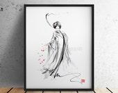 Geisha painting japanese art asian style oriental watercolor artwork wall decor.