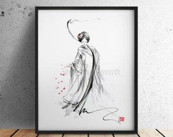 Geisha painting japanese art asian style oriental watercolor artwork wall decor.