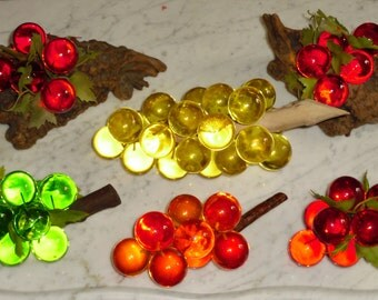 lot of Vintage Lucite Grapes ~ Red Orange Yellow Green - 6, 9, 10 & 23 Grapes Bunches