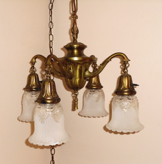 antique 1920s hanging 4 arm light fixture w 2 tone shades plug in