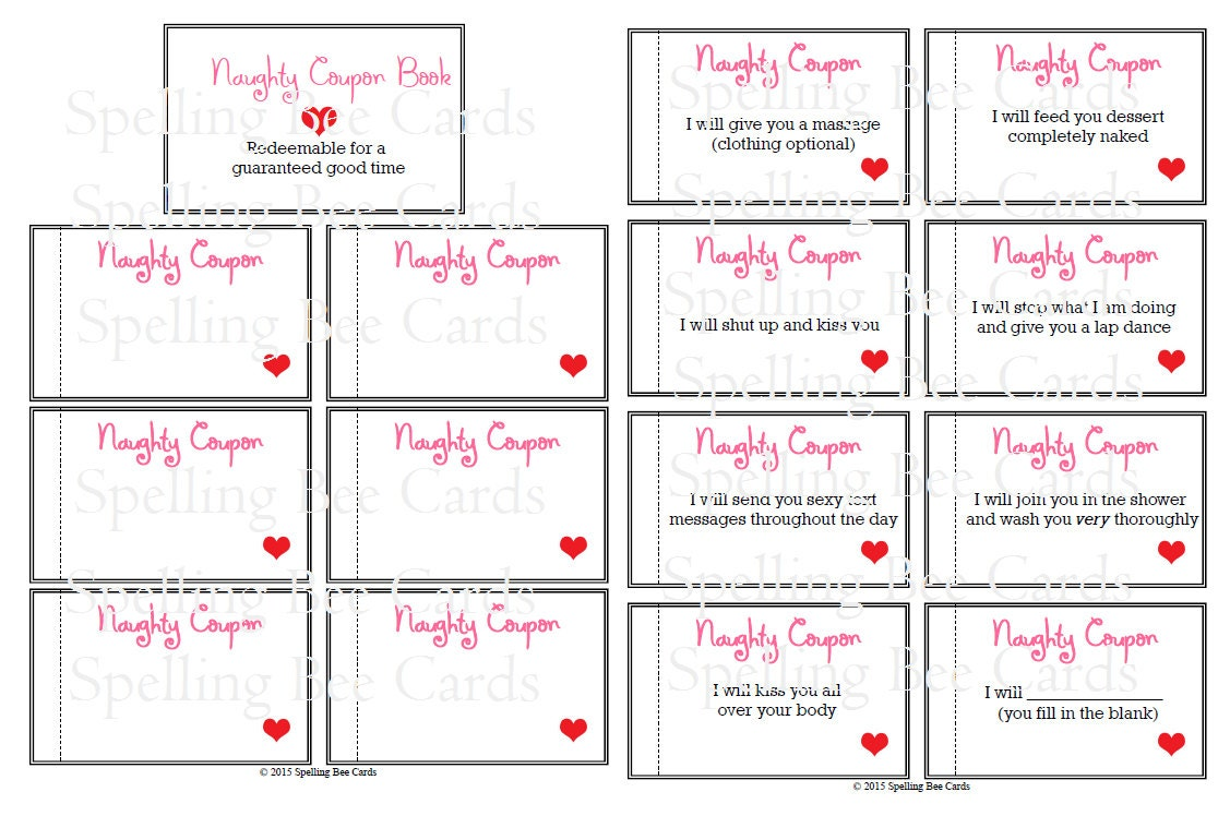 Naughty coupon book sexy coupons last minute gift for for Sex coupon template