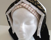 Ladies' Black and Gold Bonnet and Frontlet Tudor Headdress as Seen on BBC2