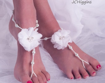 White Bridal Barefoot Sandals, Wedding Barefoot Sandals, Beach Wedding Barefoot Sandal, Bridal Foot Jewelry, Footless Sandal
