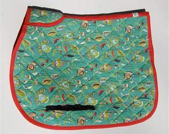 ALL PURPOSE Horse Saddle Pad - Contoured Quilted Teal Floral - limited edition by Equine Organix