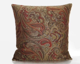 Brown Paisley Pillow Cover Bronze Rust Orange DecorativeThrow 16x16 18x18 20x20 22x22 12x16 12x18 12x20 14x22 Accent Toss Lumbar Zipper