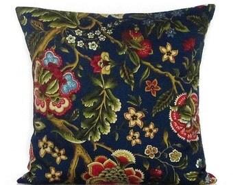 Navy Blue Floral Pillow Cover Botanical Decorative Throw Accent Burgundy Gold Olive 16x16 18x18 20x20 22x22 12x16 12x18 12x20 14x22 Zipper