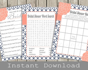 Printable BRIDAL Shower Games Set / Navy blue and Coral / Bingo, Word Search, How well do you know the Bride Quiz Cards / INSTANT DOWNLOAD