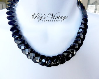 Vintage Black Lucite Bead Necklace / Flat Round Bead Choker/Necklace