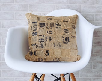 Burlap pillows decorative pillow throw pillow cover  Authentic Dunn Bros Coffee burlap bag burlap sack