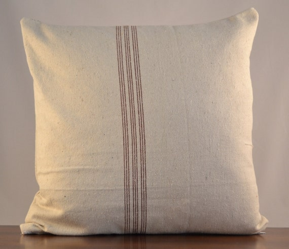 Farmhouse throw pillow made from upcycled grain by OldLakeGeorge