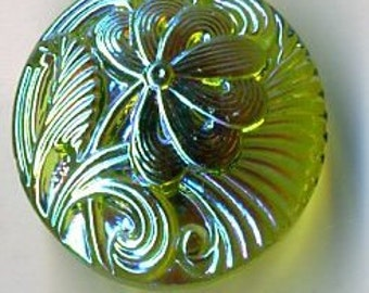 Lime Czech glass with shiny iridescent finish with flower  - size 8, 18mm FCB 857