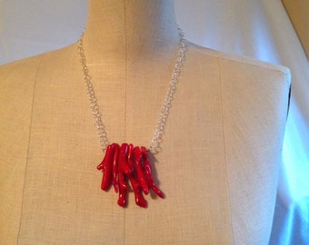 "Red Stick Coral and silver chain 28"" long necklace."