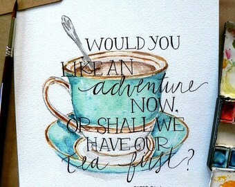 Tea Art Print/ Kitchen Art/ Peter Pan Tea Cup- 8x10