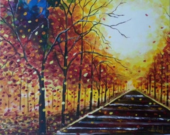 Fading Fall contemporary painting by Pamela Henry yellows, oranges, knife and brush
