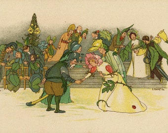 Original Antique German Fairy Tale Print from Children Fairy Tale book.  Very nice ready to be framed.