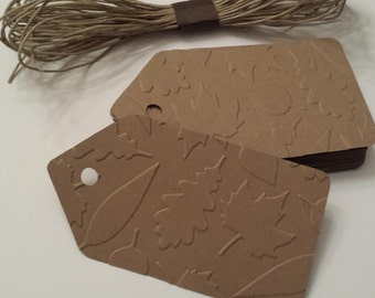 20  Large Embossed  Fall Leaf Tags, Fall Leaf Tags With Holes And Twine, DIY Fall Favor Tags