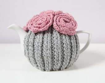 Silver Grey Tea Cozy with Dusty Pink Crocheted Flowers.Hand-Knit. Ready to Ship.