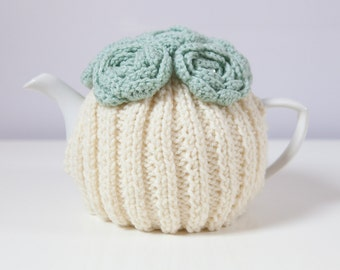 Cream, Hand Knit Tea Cozy with Mint Green Crocheted Flowers. Teapot Cozy.