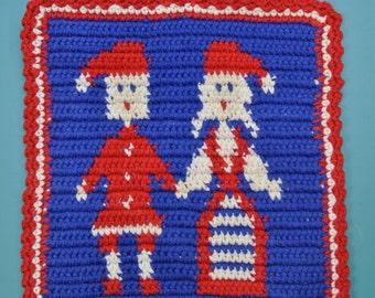 Lovely swedish docorative handmade crochet vintage 1980s red/ white/ blue cotton thread potholder with Santa Claus motive