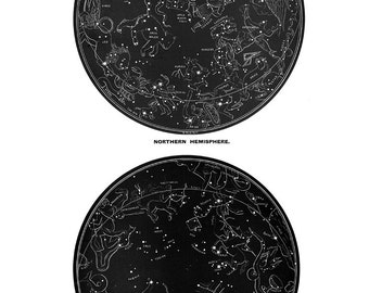 LARGE DOUBLE Old Constellations Figures Northern Southern Zodiac Star Chart Print in black