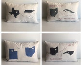 State to state (or country) Missing You Pillow