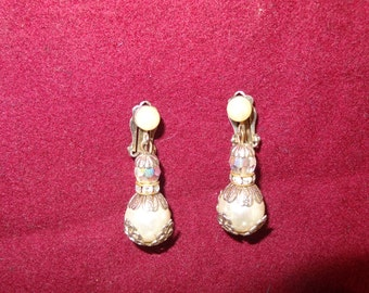 Vintage Clip on Ear Rings Pearls and Crystals