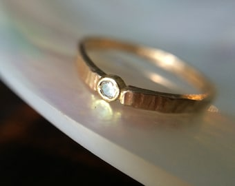 14kt Tiny Gold Diamond Ring- Rustic recycled Gold Hammered Engagement Ring-Conflict free Diamond Ring