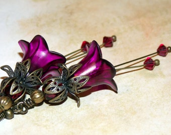 Lucite Flower Earrings, 'Fuchsia Pink', Victorian Earrings, Boho Earrings, Drop Earrings, Pink Earrings, Filigree Bronze, Hand Painted