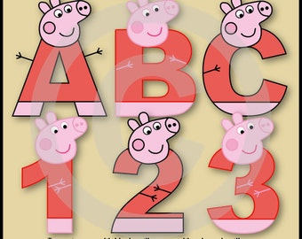 Peppa Pig Alpahbet/Letters & Numbers Clip art Graphics