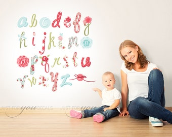 Girls Room Wall Decal - Alphabet Wall Decal - Playroom Wall Decal - Nursery Wall Decal - Play Room Wall Decal - Custom Decal Sticker 01-0011