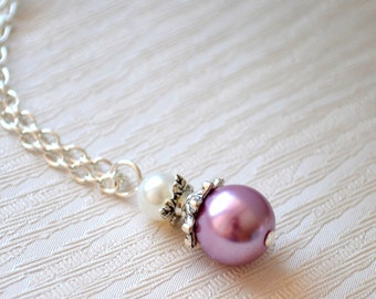 Lavender bridesmaids jewelry Purple necklace Bridesmaids gifts Violet bridesmaid jewelry Flower girl Purple weddings