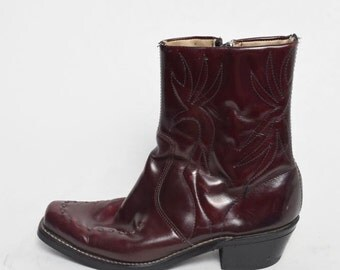 Vintage Western Burgundy Real Genuine Leather Quilted Boots