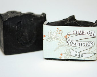 Detoxifying Charcoal Complexion Bar, Activated Bamboo Charcoal Cold Process Soap,Vegan, Hand crafted, Victoria BC, Vancouver Island