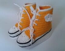 Baby Converse High Tops Sneaker Booties Dandelion Yellow, 6-9 months
