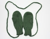 Knit Kids Mittens - Green Mittens for Kids - Kids Green Mittens with String - Dark Sage Green Knit Kids Winter Mittens