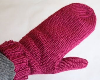 Knit Kids Mittens - Fuchsia Mittens for Kids Ages 5-6 - Magenta Kids Mittens on a String - Pink Knit Mittens - Kids Winter Mittens