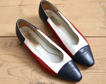 Color Block Flats - 1980s Red White and Blue Shoe - 80s Size 8.5 Leather Womens Shoes